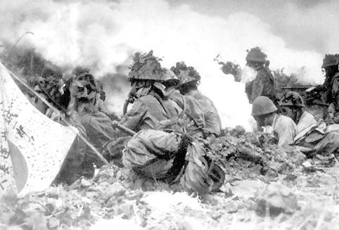 Japanese artillerymen fire chemical weapons into Chinese positions in 1941.
