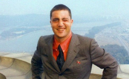 John Paul Cupp at the top of the Juche Tower, Pyongyang, North Korea, on an official trip by invitation of the North Korean government as head of the U.S. Songun Politics Study Group in 2006