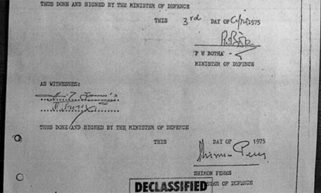 The secret military agreement signed by Shimon Peres, now president of Israel, and P W Botha of South Africa. Photograph: Guardian