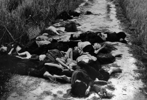 Bodies lay in the road leading from the village of My Lai, South Vietnam, following the massacre of civilians on March 16,1968. Within four hours, 504 men, women and children were killed in the My Lai hamlets in one of the U.S. military's blackest days. (AP photo/FILE/Ronald L. Haeberle, Life Magazine)