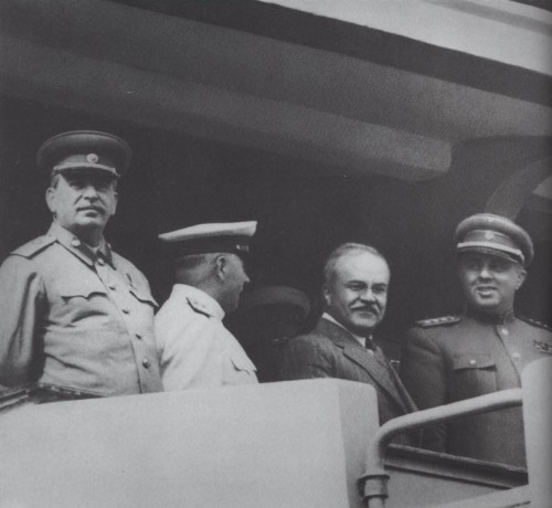 On Red Square podium, Novmber 1947, with J.V.Stalin & V.Molotov; p.104