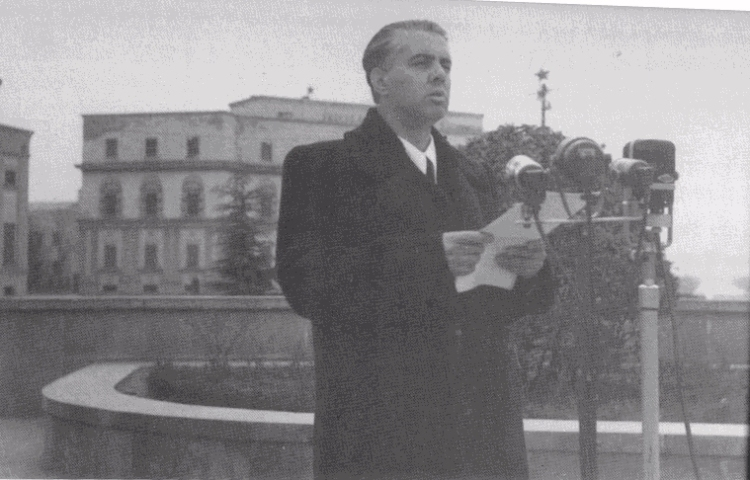 Enver Hoxha at Memorial meeting of J.V.Stalin at Skanderberg Square 5 March 1953