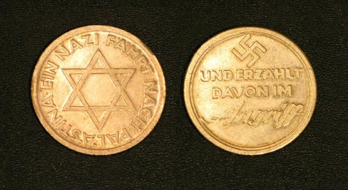 Mildenstein medal, with a Swastika on one side and a Star of David on the other  Photograph courtesy of Arnon Goldfinger (c) 2014