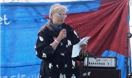 Dorte Grenaa, APK, speaking in the Red Square, Fælledparken, Copenhagen