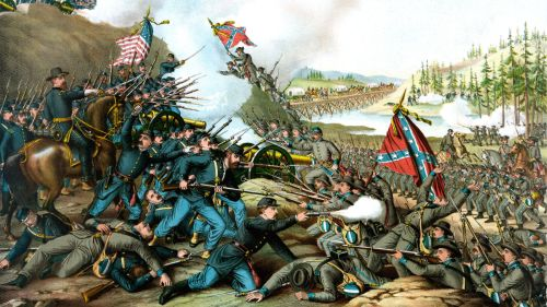 Union and Confederate troops clash at the Battle of Franklin in Tennessee, 1864.(Library of Congress/Kurz and Allison)