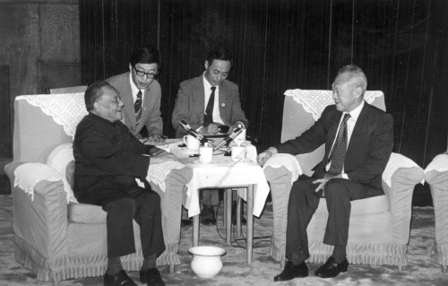 The late Chinese leader Deng Xiaoping with Lee Kuan Yew in Beijing in the 1980s (CNS)